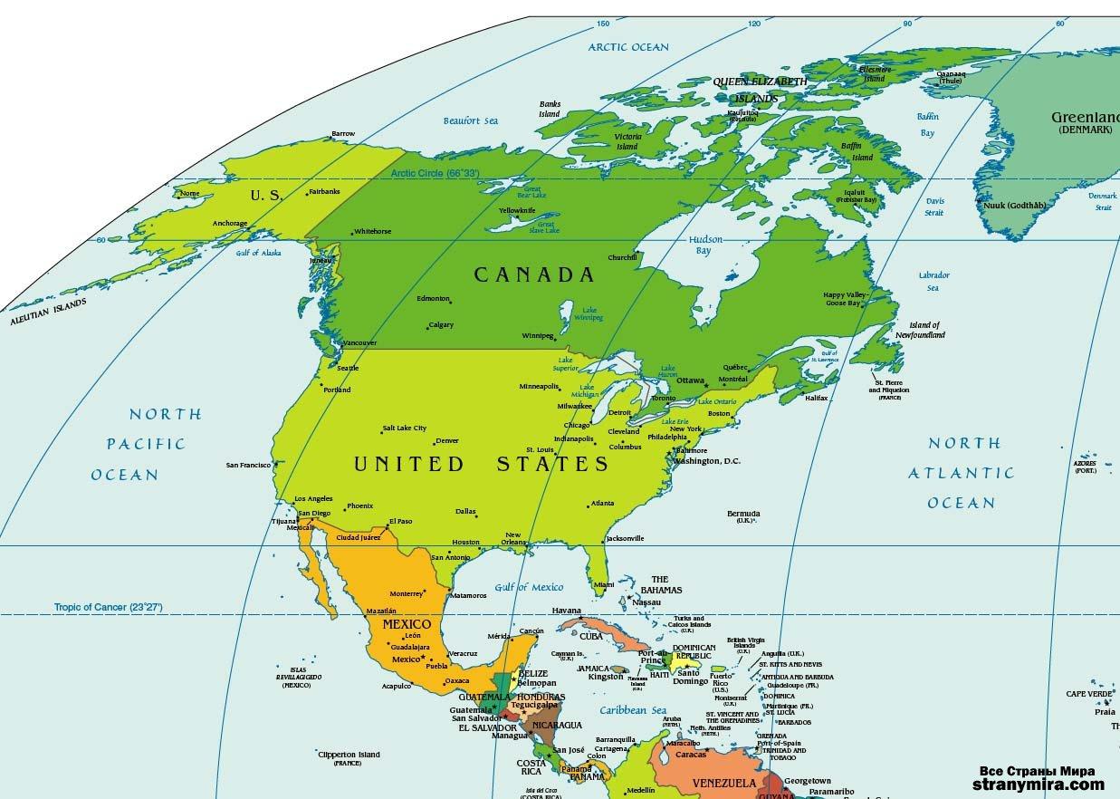 Северная америка политическая карта